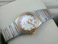 欧米茄星座系列女士手表外壳镶钻包18K玫瑰金两针钻石刻度(多颜色)