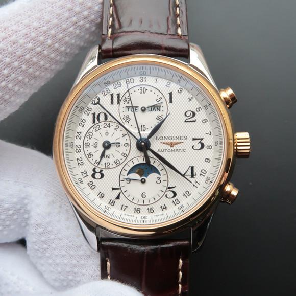 高仿浪琴名匠八针L2.773.4.78.6八针月相白面金壳手表