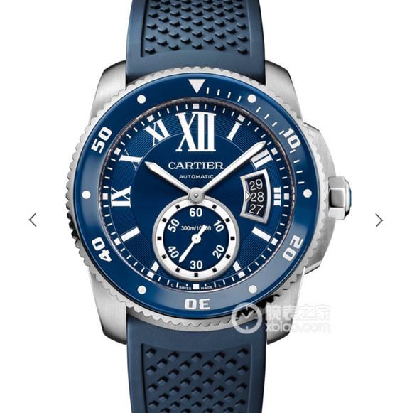 卡地亚CARTIER卡历博WSCA0011潜水腕表硅胶带 蓝色款