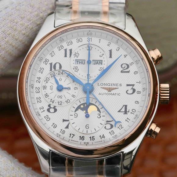 GS浪琴名匠月相L2.773.4.78.3腕表 采用上海7751机芯改原装L.687型机芯精钢表带