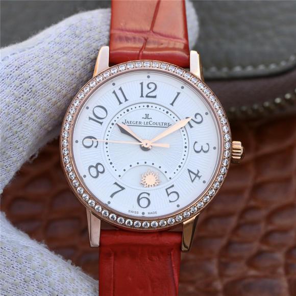 复刻积家约会系列玫瑰金镶钻白面女士机械手表