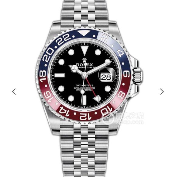 EW劳力士格林尼治GMT-Master II功能 蓝红圈黑面五铢表带手表