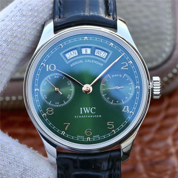 YL厂万国葡萄牙万年历绿色面男士机械手表