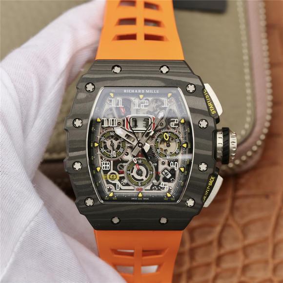KV理查德米尔米勒RM11-03系列 男士机械手表  (橙色胶带)
