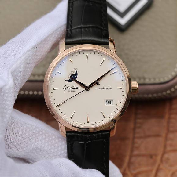 ETC格拉苏蒂原创议员大日历月相腕表 正品开模 皮带表 自动机械机芯 男士腕表