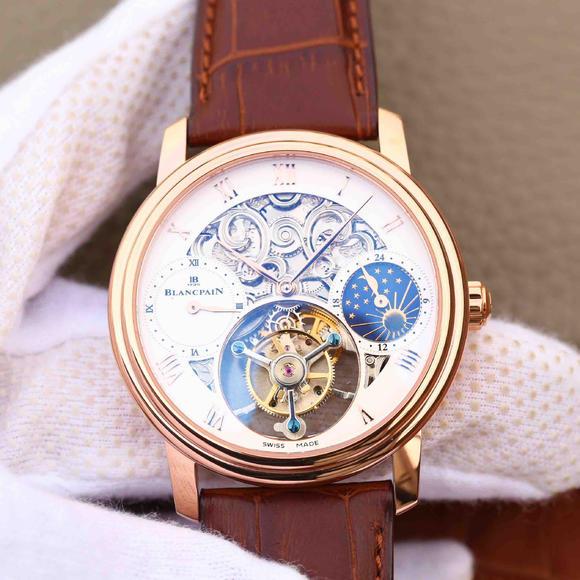 BM宝珀巨匠系列00235-3631-55B玫瑰金腕表 真皮表带 陀飞轮机芯 男士