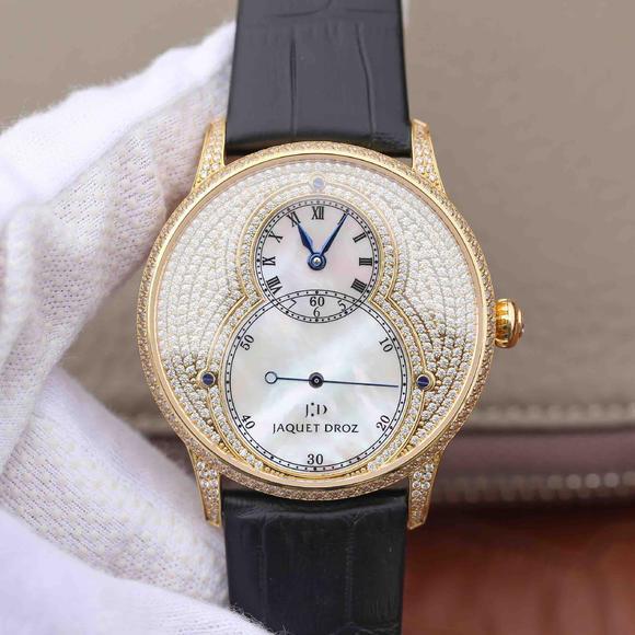雅克德罗大秒针系列J014013226镶钻满天星18k金男士腕表