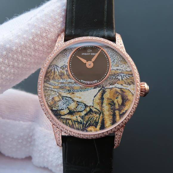 TW雅克德罗【女神】腕表  表里如一 独具匠心!烧钢蓝指针 女士腕表 玫瑰金镶钻