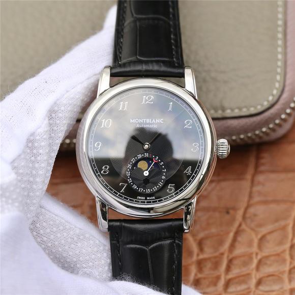 万宝龙明星leagcy璀璨星耀月相盘 皮带表 月相盘与日期显示功能男士机械手表