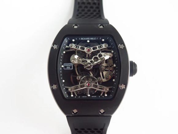 EUR理查德米勒RM 027 男士腕表 橡胶表带 陀飞轮机械机芯