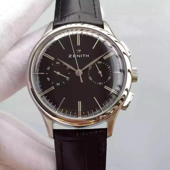 H。ZENITH真力时 2016年最新款式 皮带表 自动机械机芯 男士腕表