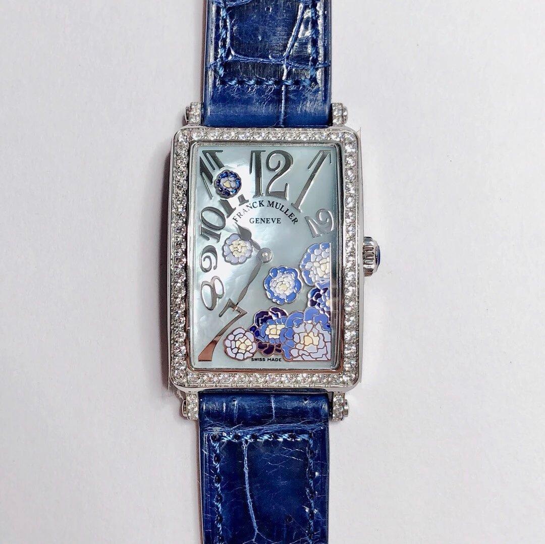 法兰克穆勒 LONG ISLAND长岛系列最美女士石英皮带方形腕表 珐琅彩绘