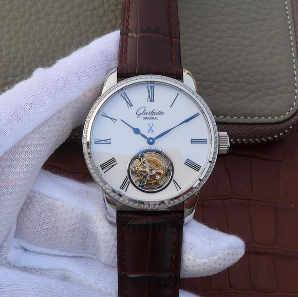 N格拉苏蒂原创参议员系列94-11-01-01-04真陀飞轮腕表 意大利牛皮 男士腕表