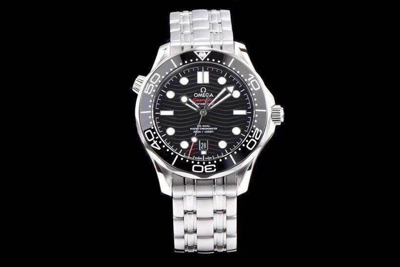 VS厂欧米茄海马系列300米42MM 黑面钢带手表 超强夜光 新款