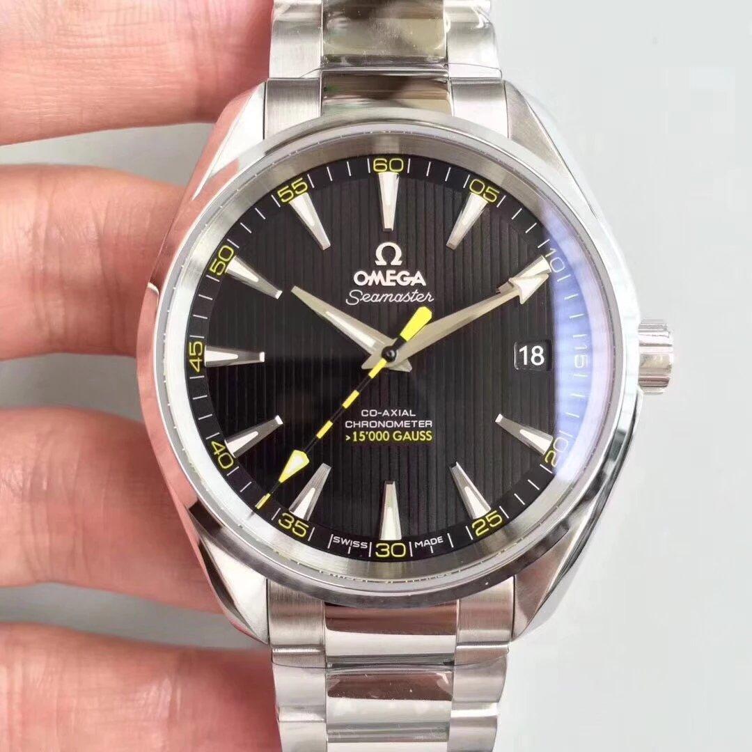 VS厂欧米茄海马系列150米大黄蜂钢带黑盘手表
