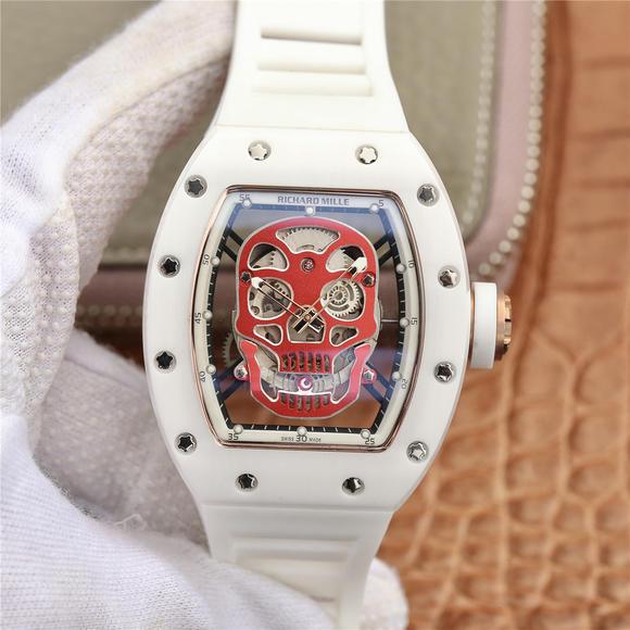 理查德米勒RM52-01镂空骷髅头腕表 经典白色款男士机械手表 橡胶表带