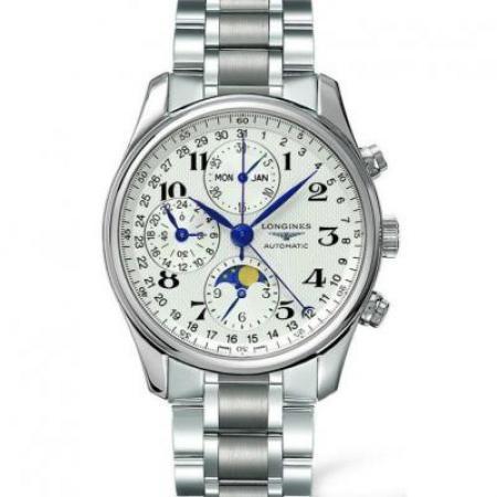 GS浪琴名匠月相L2.773.4.78.6腕表 采用上海7751机芯改原装L.687型机芯精钢表带