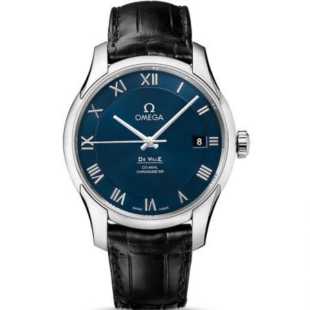 V6厂欧米茄蝶飞431.13.41.21.03.001男士蓝面机械手表 v7版