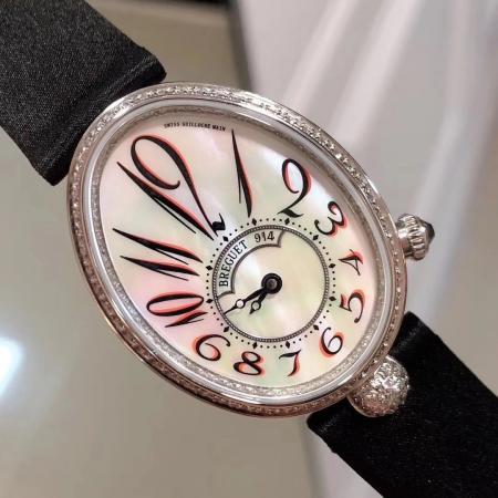 升级版宝玑那不勒斯王后女表 贝母面镶钻女士自动机械腕表