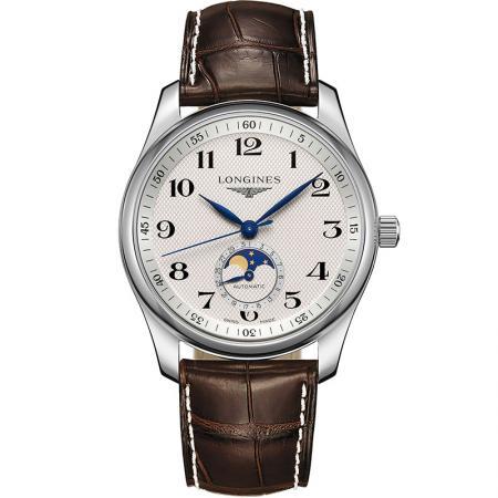 GS厂顶级复刻浪琴名匠系列L2.909.4.78.3月相功能四针男士自动机械皮带手表