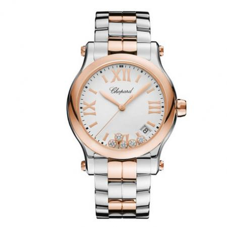 一比一高仿萧邦快乐钻278582-6002女士石英手表 (玫瑰金白盘)