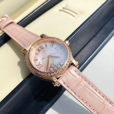 一比一高仿最高版本萧邦快乐钻 33mm皮带女士机械手表 镶钻玫瑰金