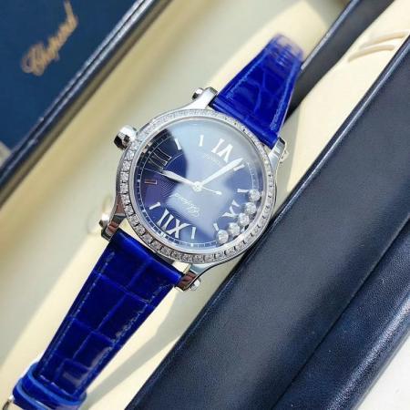 一比一高仿最高版本萧邦快乐钻 33mm皮带女士机械手表 蓝款