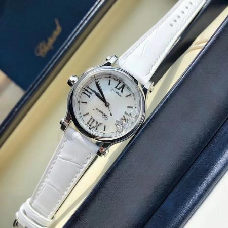 一比一高仿最高版本萧邦快乐钻 33mm皮带女士机械手表 白面