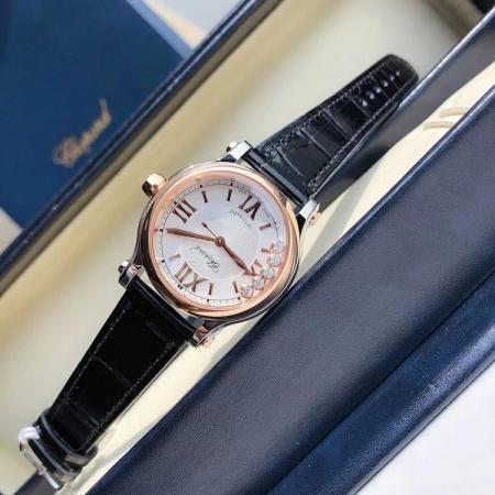 一比一高仿最高版本萧邦快乐钻 33mm皮带女士机械手表 表盘五颗星钻