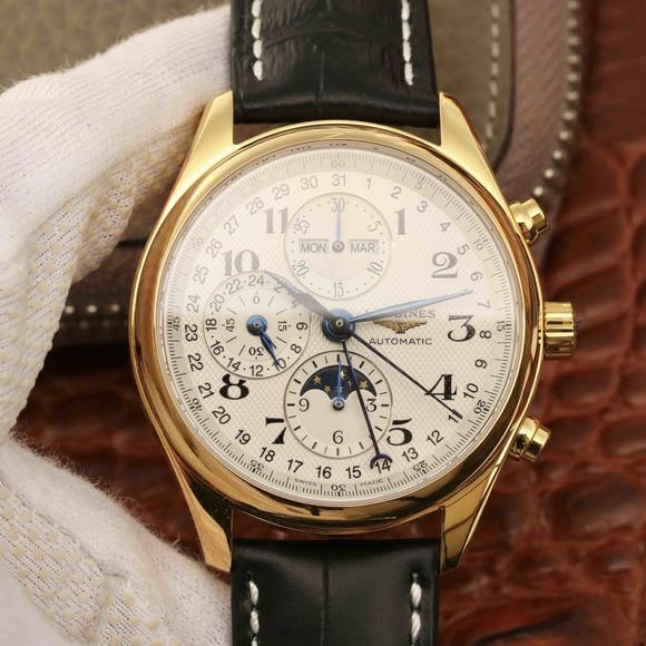 3M厂浪琴名匠优雅系列42mm大号男士机械手表 月相功能再次改进