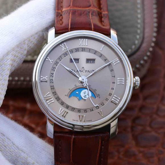 OM厂宝珀villeret经典6654月相显示系列皮带男士机械手表 6654最强V2升级版
