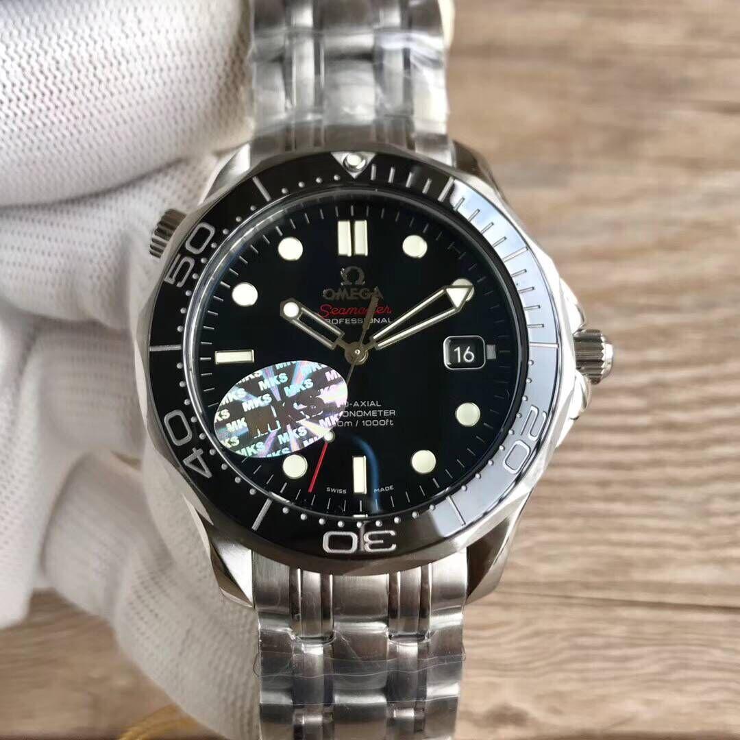 mks厂欧米茄海马系列212.30.41.20.01.003 300米黑面男士潜水机械手表