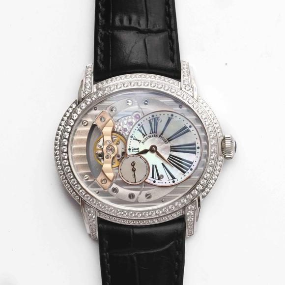 V9爱彼千禧系列15350款白金镶钻男装腕表