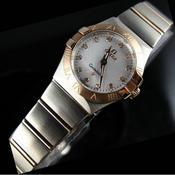 瑞士欧米茄OMEGA星座石英双鹰18K玫瑰金超薄女表白面钻石刻度女士手表