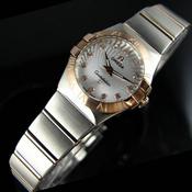 瑞士欧米茄OMEGA星座石英双鹰18K玫瑰金超薄女表太阳纹白面女士手表